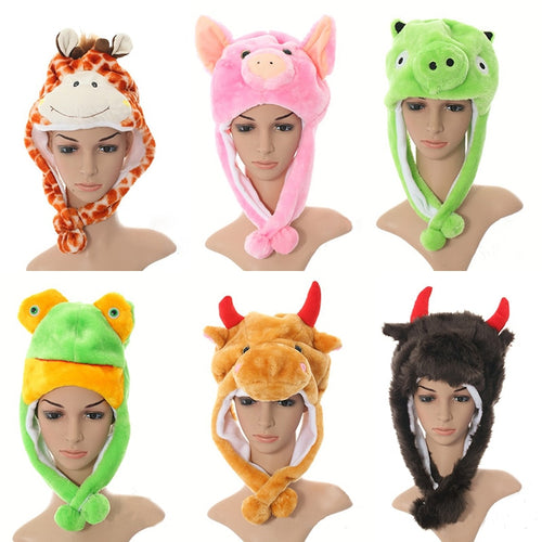 New Soft Warm Animal Cap monkey pig Giraffe Cute Cartoon Plush Hat beanies Earmuf With short Scarf For kids Child 20 styles