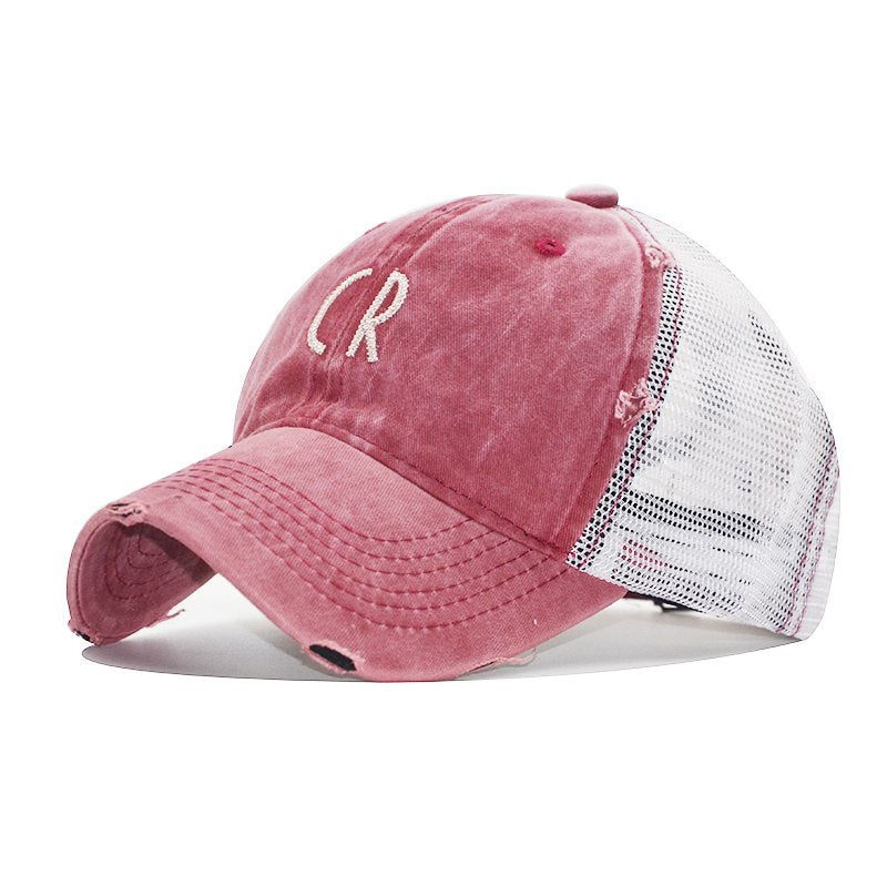 New Summer Letter Embroidery CR Baseball Cap Net Cap Fashion Baseball Hat Truck Driver Adjustable Hip Hop Lady Mens Hat