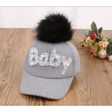 Load image into Gallery viewer, New Thick Velvet Autu Winter BABY Hot Diamond Hat Child Warm Ear Caps Faux Rabbit Fur Pompom Ball Baseball Cap For Boys Girls