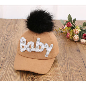 New Thick Velvet Autu Winter BABY Hot Diamond Hat Child Warm Ear Caps Faux Rabbit Fur Pompom Ball Baseball Cap For Boys Girls
