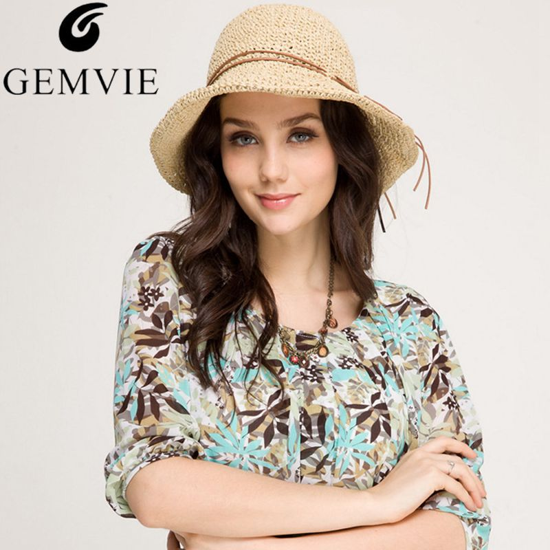 New Trendy Foldable Wide Brimmed Raffia Straw Hats For Women Sun Cap Bowknot Floppy Summer Beach Hat Chapeu Feminino