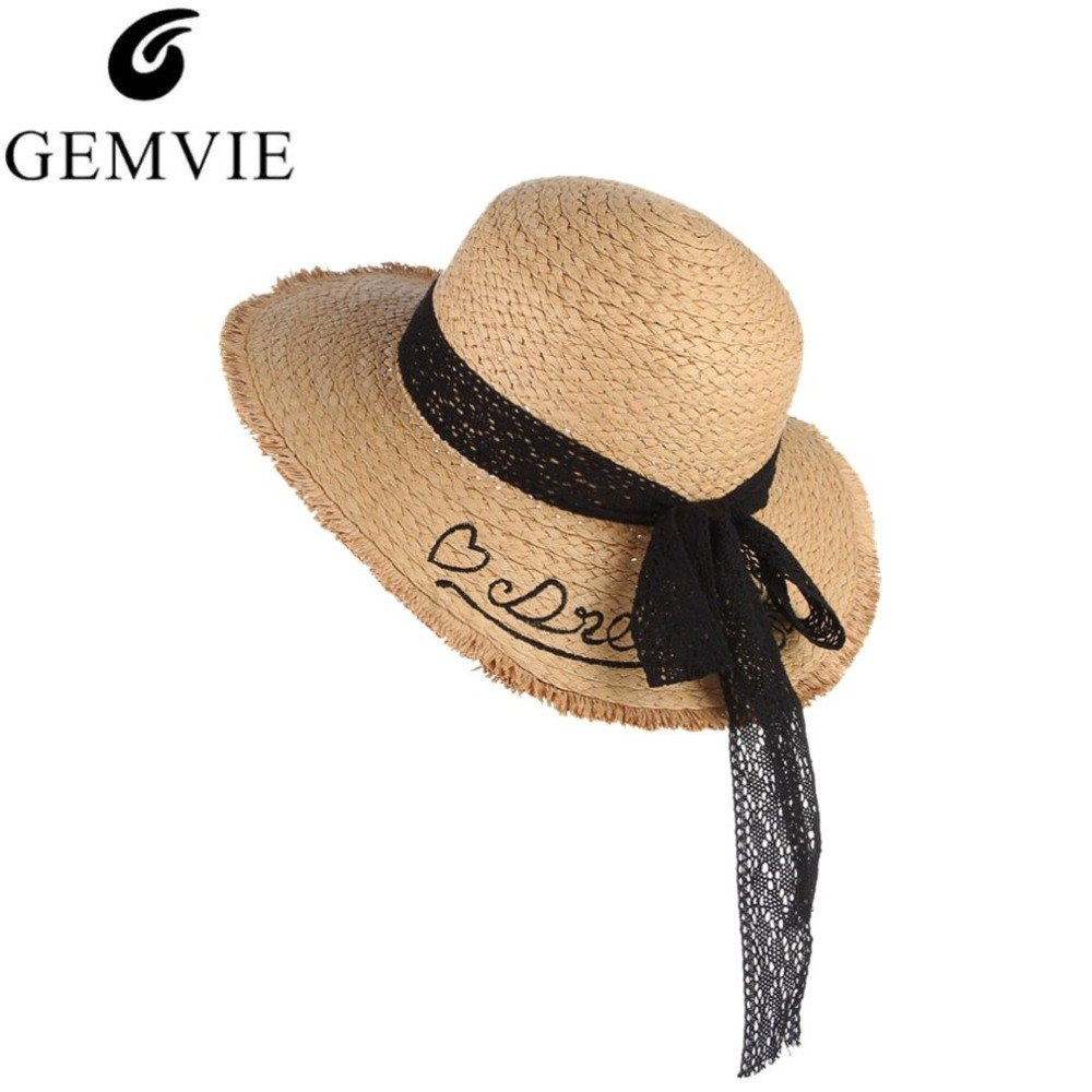 New Trendy Summer Hats For Women Lace Bow Embroidery Letter Wide Brim Straw Hat Beach Outdoor Sun Cap Fashion Lady Sunhat Panama