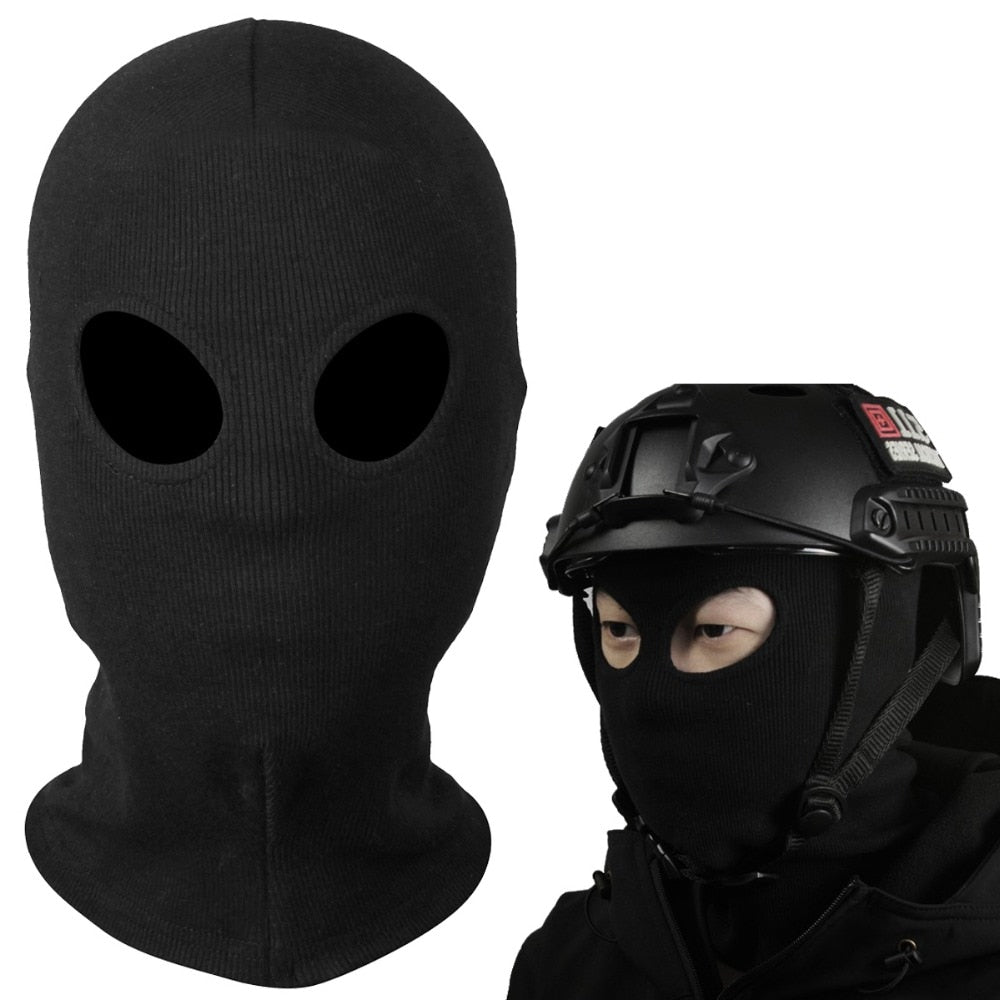New Two Holes Black Masks Balaclava Tactical Snowboard Breathable Halloween Cap Hat Paintball Combat UV Protect Full Face Mask