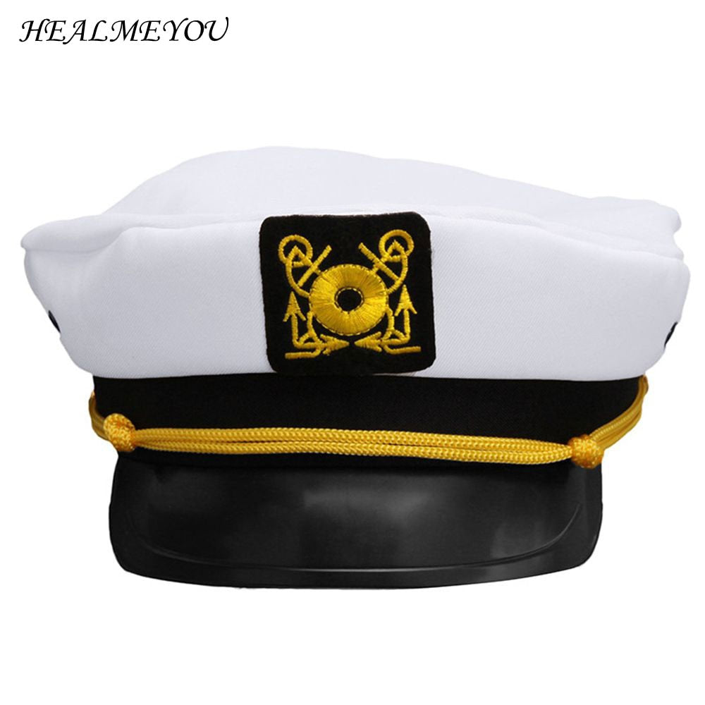 1e8de5a6dbe43 New Vintage White Skipper Sailors Navy Captain Boating Military Hat Cap  Adult Party Fancy Dress Unisex