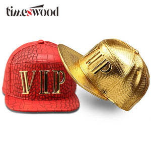 New Vip Caps Hip Hop 5 Panel Baseball Cap PU Leather Hats Unisex Gold Black Red Snapback Casquette Men Women Big Bones Aba Reta