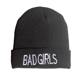 3201e72fd53 New Warm Winter Knit Hats Unique Bad Girl Knitted Black Beanies ...