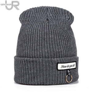 New Winter Hat For Women How Do You Do Mark Fashion Solid Warm Hats Knitted Beanies Cap Thick Female Cap