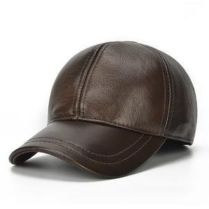 New Winter Male Genuine Leather 56-60CM Brown Baseball Caps For Man Casual Street Glof Gorras Dad Hat Free Shipping
