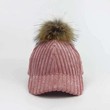 Load image into Gallery viewer, New Women Corduroy Baseball Cap Winter Hats For Women Stripe Suede Cap With Raccoon Fur Pom Poms Ball Female Cap Snapback Bone