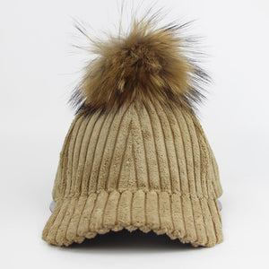 New Women Corduroy Baseball Cap Winter Hats For Women Stripe Suede Cap With Raccoon Fur Pom Poms Ball Female Cap Snapback Bone