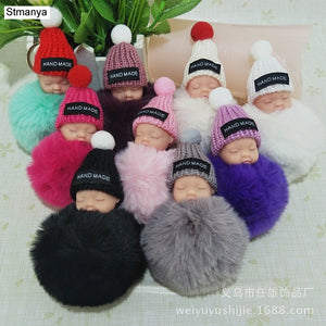 New Women Knitted Hat Doll Plush Top Quality Key Chain Bag Charm Accessories Hot Men Best Couple gift Jewelry K1973