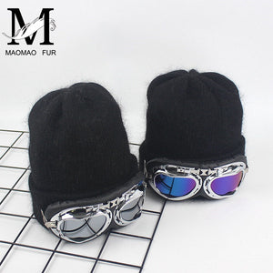 New Women Winter Hat Thick Double Layer Cashmere Skullies Female Cap With Co Sun Glasses Warm Rabbit Fur Knitted Beanies Hat
