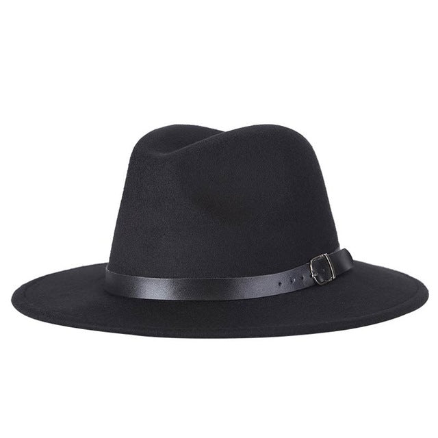 New autumn and winter men's fedora hats unisex solid belt fashion caps large size warm and comfortable adjustable wo cowboy