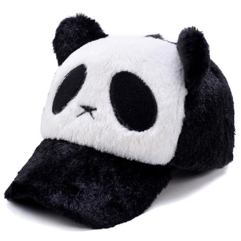New cute winter panda Hat for Women men boy Solid Warm Knitted Beanies Thick Basketball Embroidery Mesh Hip Hop snapback Hats
