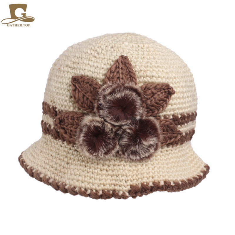 New fashion Women Lady Winter Warm Casual Caps Female Beautiful Wo Crochet Knitted Flowers Decorated Ears Hats Beanies