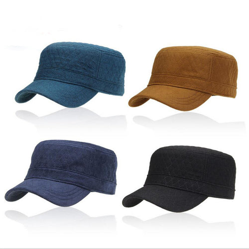 New fashion cap men black adjustable casual hats Solid color Flat top hat for men vintage sun hat winter baseball caps