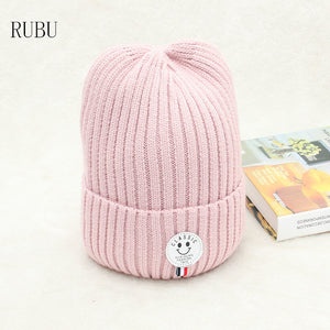 ba882e83335 New hat men and women leather letter smiley winter warm hat fashion wild  outdoor wo cap