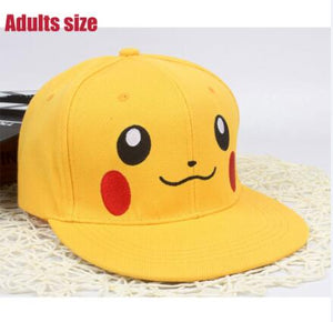 New pikachu cartoon Adjustable Caps girl  Baseball hat Co Boy Hip-hop cosplay accessary kids adults