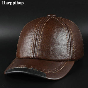 New winter fashion leather hat Mens Leather Baseball Cap Hat Haining  leather peaked cap f2a973adce7