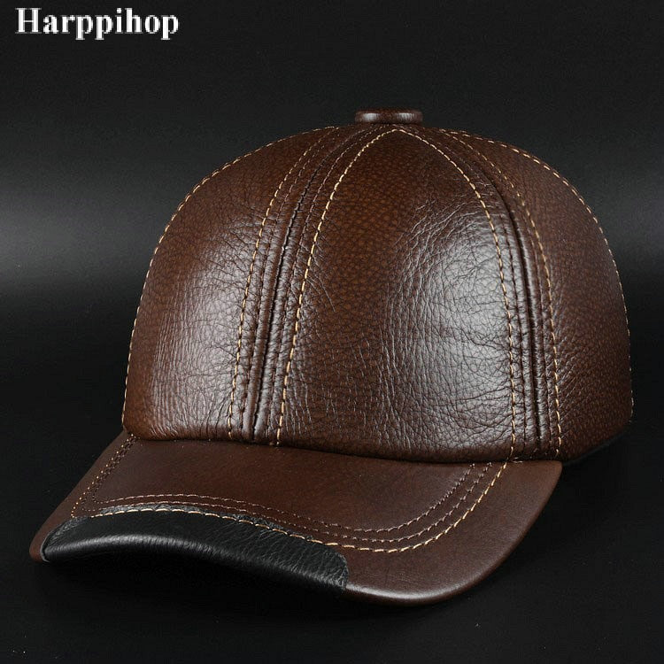 66d3aa5c58b790 New winter fashion leather hat Mens Leather Baseball Cap Hat Haining leather  peaked cap
