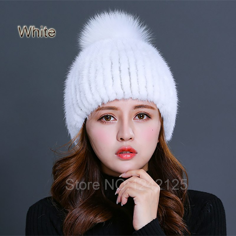 a129599f4bb New winter women men girl boy knitted real mink fur hat warm striped with genuine  fox fur ball real mink weave hat cap beanies