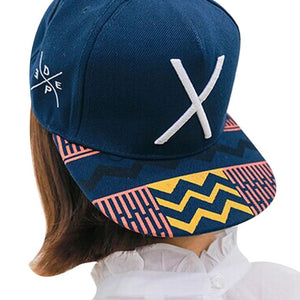 New2016 New Hip-Pop Letter X Flat Hat Baseball Cap Hip-Hop Peaked Cap chapeau homme hat casquettes de basketballdrop shopping