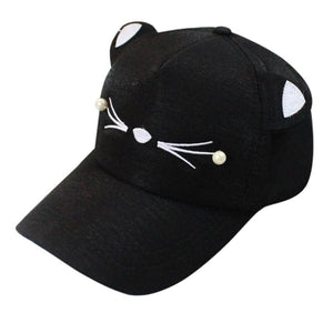 NewNew Coming Lovely Spring Fashion Tide Pearl Wild Cute Student Cat Baseball Cap baseball cap kids gorras mujerdrop shopping