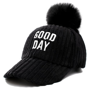 Newe Good Day Letter Women Winter Baseball Cap Fashion Pompoms Hat For Female Autumn Casual Flannel Warm Cap
