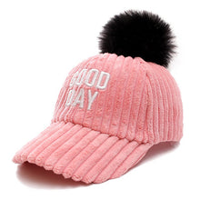 Load image into Gallery viewer, Newe Good Day Letter Women Winter Baseball Cap Fashion Pompoms Hat For Female Autumn Casual Flannel Warm Cap
