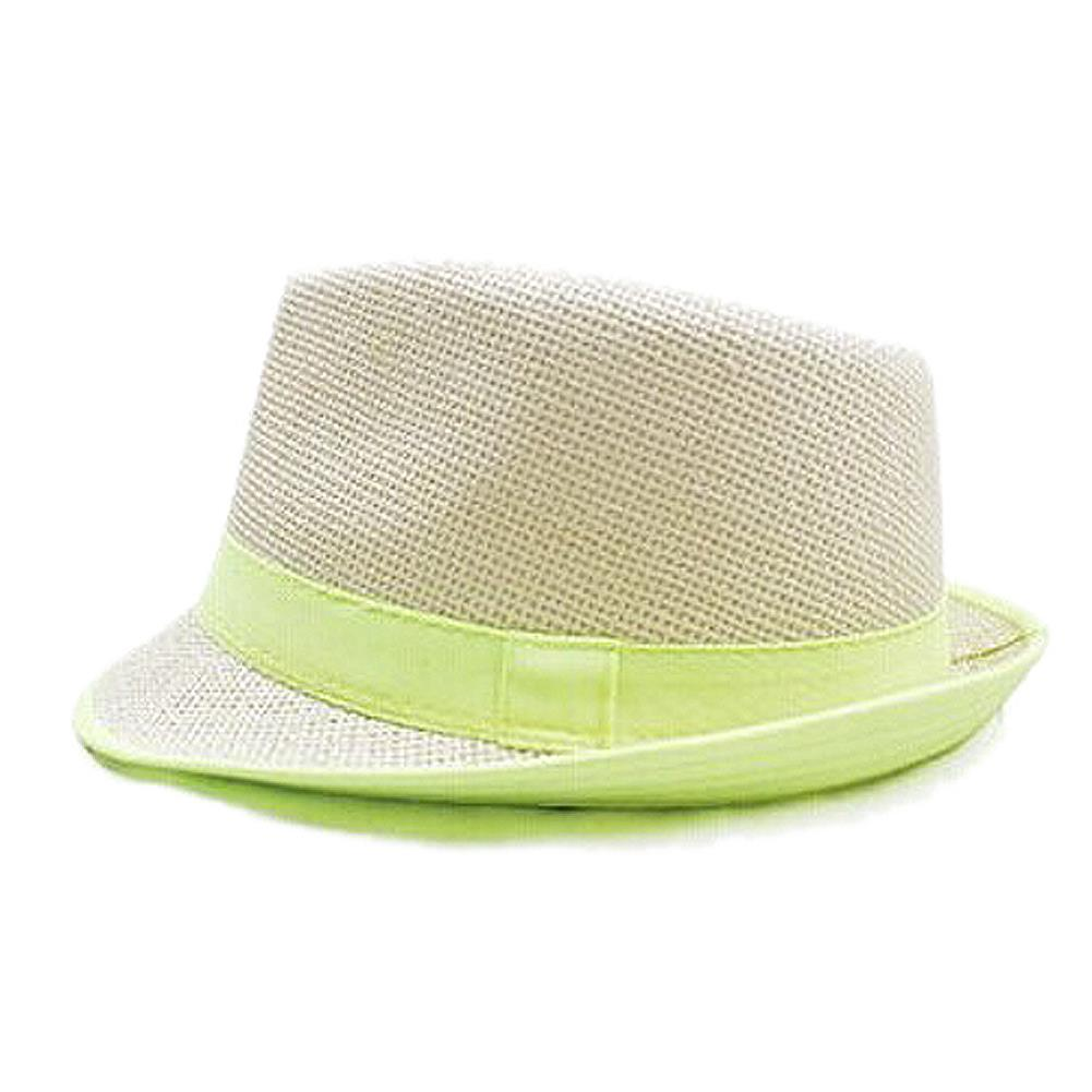 Newest Green Brim Exquisite Candy Color Belt Decorated Simply Designed Sun Hat For Men and Women