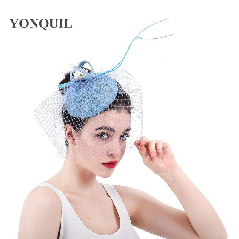 Newly Design Lady Fascinator Mesh Hair Clips summer pillbox Fedoras Hat For Formal Party elegant women red black headwear SYF307