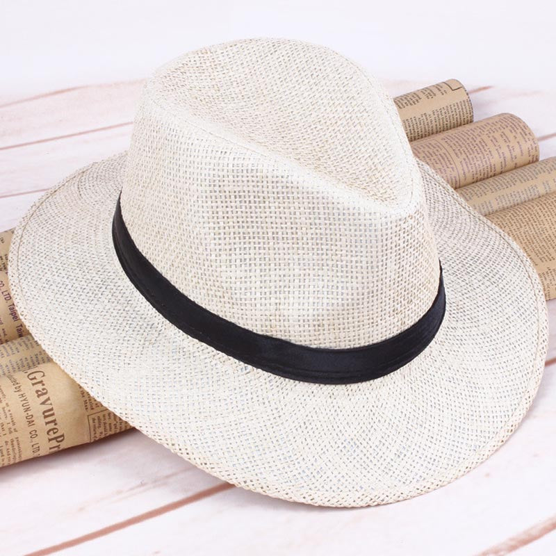 c98f47bed Newly Men Straw Panama Hat Handmade Cowboy Cap Summer Beach Travel Sunhat