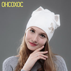 1bf3dced742 New Design Women Beanies Skullies White Color Girl Cute Autu Winter Hat Cap  With DMC AAAA Shiny Star Shape Rhinestone