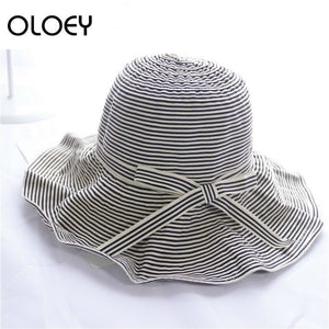 2020 New Summer Fashion Caps Black Striped Patchwork Bow Woman Foldable Laides Fisherman Hat All-match H459