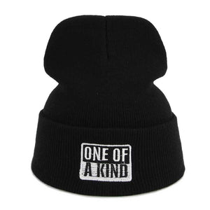 ONE OF A KIND Skullies & Beanies For Women Black Color Ski Hats For Winter Knit Beanie Hip Hop Female Cheap Gorras Adult Hats
