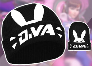 OW DVA Hana Song White Rabbit Printed Cosplay Cap Black Knitted Hat