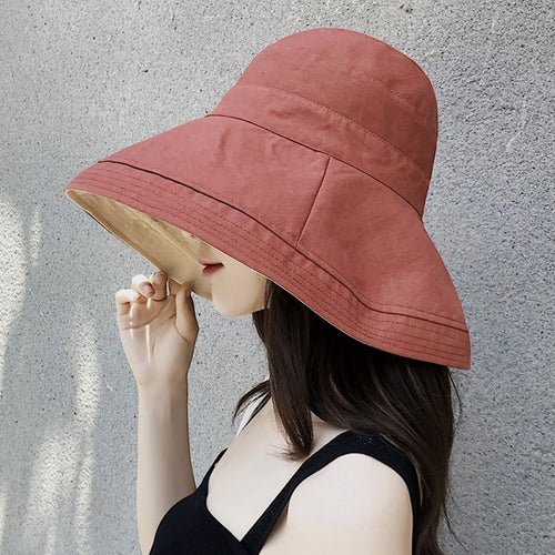 Outdoor Casual Fisherman Hat Wide Brim Reversible Plain Cot Linen Bucket Hats Women Jungle Hiking Cap Ladies Beach Buckle Hat