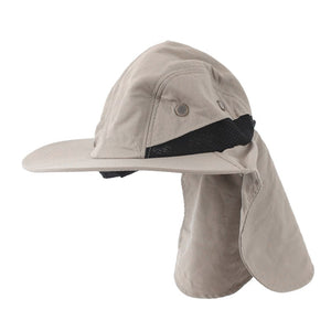 Outdoor Fishing Hiking Boonie Snap Hat Brim Ear Neck Cover Sun Flap Cap Khaki Color