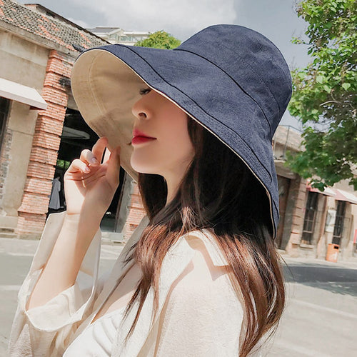 Outdoor Plain Cot Linen Bucket Hats Wide Brim Casual Fisherman Hat Ladies Beach Buckle Hat Women Jungle Hiking Cap Reversible