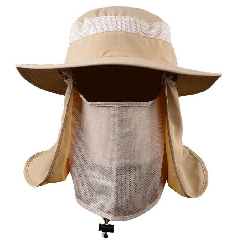 Outdoor Unisex Summer Sun Hat Mask Large Round Brim Bucket Cap Block Quick Drying Fishing Hat For Women Men Travel Casual Hat