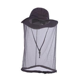 Outdoor fishing fisherman hat  khaki outdoor sunscreen insect proof mosquito cap mesh protection facial cap army green