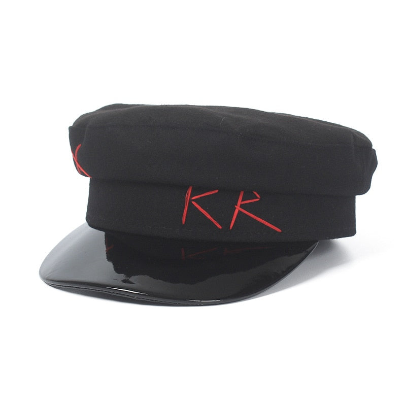 Women Black Military Hat Autu Winter Wo Newsboy Cap Fashion Letter Embroidery Leather Patchwork Sombrero Mujer