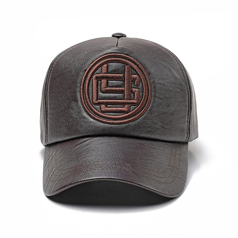 fef1aec991f3d ... Load image into Gallery viewer, PU Baseball Cap Men Letter Embroidery  Adult Hats Black Brown ...