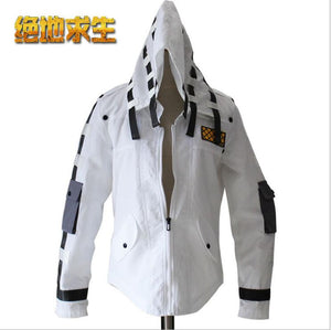 PUBG Playerunknown's Battlegrounds Cosplay Costume White Black Warm Coat With Hat Costumes Halloween Party For Man