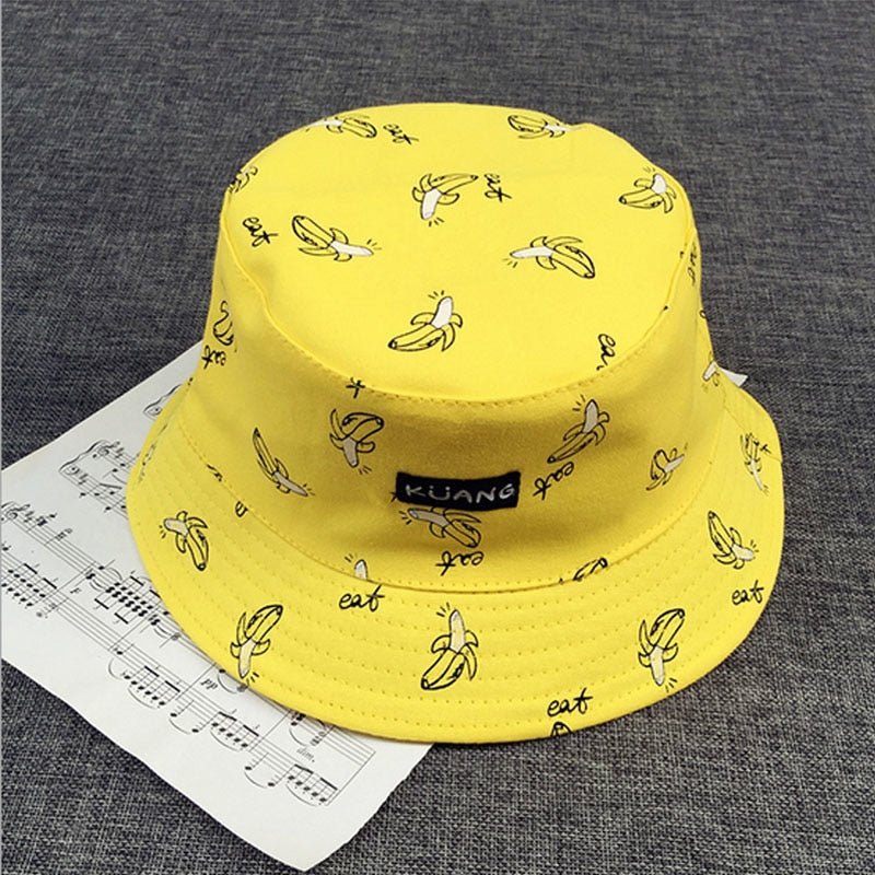 Panama Two Side Reversible unisex fashion Bucket Hat Bob Caps Hip Hop Gorro Men Summer Cap sad boys Beach Sun Banana Bucket Hat