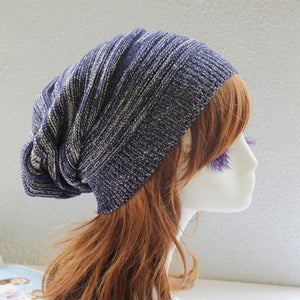 Patchwork Handmade Knitted Hat Beanies For Female Men Autumn Winter Warmer Ear Women's Cap Hip-Pop Dance Slouchy Skullies