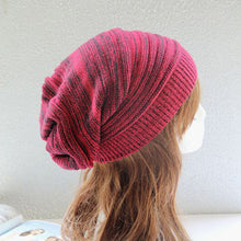 Load image into Gallery viewer, Patchwork Handmade Knitted Hat Beanies For Female Men Autumn Winter Warmer Ear Women's Cap Hip-Pop Dance Slouchy Skullies