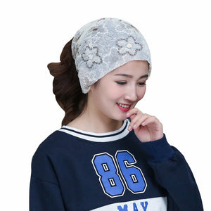 Women Hat Nice Flower Print Lace Womens Hats Scarf Collar Spring Autumn Winter Girl Cap Multifunction Beautiful Caps
