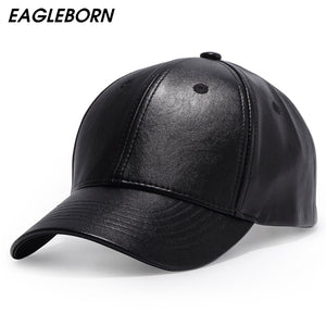 Plain New Men Baseball Cap Women Solid Leather Snapback Cap Casquette Brand Adjustable Bone PU Hats For Men Winter Baseball Caps