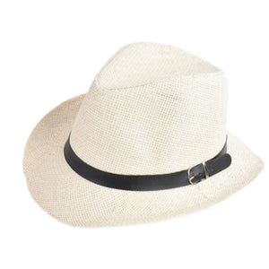 b7b19b2a8c4 Popular Unisex Men Women Straw Hat Cowboy Cap Summer Beach Travel Sunhat  with Black Belt band